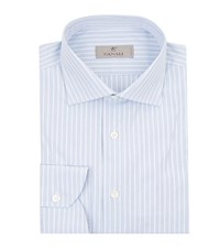 Canali Solid Rope Stripe Shirt Male Blue