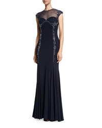 Mignon Embellished Sheer Yoke Gown Indigo