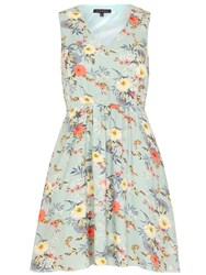 Tenki Floral V Neck Skater Dress Green