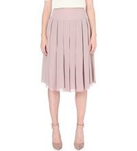 Reiss Eli Pleated Crepe Midi Skirt Ice Rose