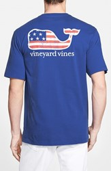 Men's Vineyard Vines 'American Flag Whale' Graphic T Shirt Aviator Blue