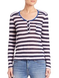 Frame Le Nautical Long Sleeve Henley Tee Navy Stripe