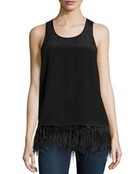 Madison Marcus Feather Trim Tank Black