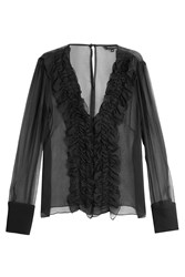 Tara Jarmon Silk Chiffon Ruffled Blouse Black