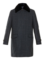 Brioni Prince Of Wales Cashmere And Mink Fur Coat