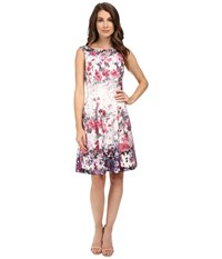 Adrianna Papell Floral Print Bateau Neck Fit And Flare Dress Purple Pink Women's Dress