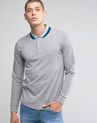Ellesse Italia Knitted Long Sleeve Polo Shirt Grey