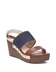Louise Et Cie Quincy Leather Platform Wedges Brown