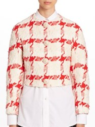Alexander Mcqueen Cropped Houndstooth Tweed Jacket Ivory Red