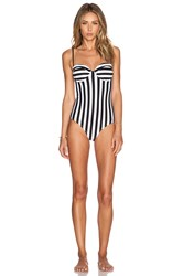 Wildfox Couture Dreamhouse Stripe Swimsuit Black And White