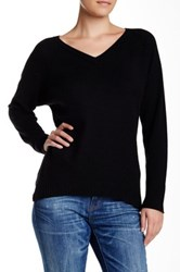 Velvet By Graham And Spencer Yoshi V Neck Cashmere Sweater Black