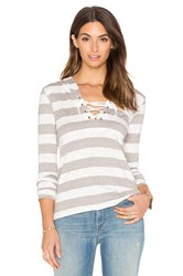 Bobi Slub Stripe Lace Up Detail Hoodie Gray
