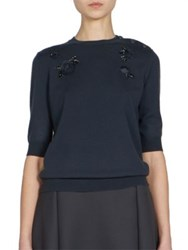 Nina Ricci Floral Knitted Wool Sweater Dark Blue