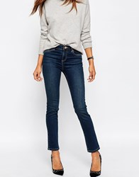 Asos Pencil Straight Leg Jeans In New Elm Wash Blue