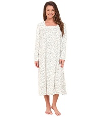 Eileen West Long Sleeve Ballet Nightgown White Ground Teal Brown Floral Women's Pajama