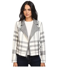 Michael Stars Double Faced Flannel Plaid Moto Jacket Chalk Galvanized Women's Coat Gray