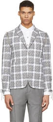 Moncler Gamme Bleu Grey And White Tweed Plaid Blazer