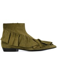 J.W.Anderson Ruffle Boots Green