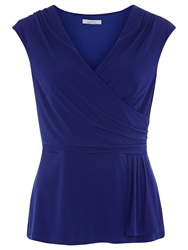 Kaliko Waterfall Frill Jersey Top Dark Blue