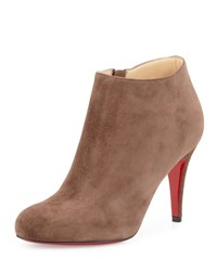 Christian Louboutin Belle Suede Red Sole Bootie Chatain