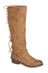 Very Volatile Women's 'Miraculous' Knee High Zip Boot Tan Faux Leather