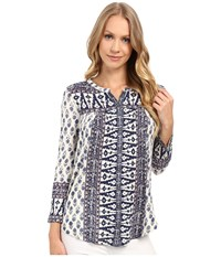 Lucky Brand Wood Block Printed Top Navy Multi Women's Clothing Blue
