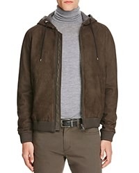 Vince Leather Hooded Zip Front Jacket Espresso Brown