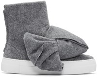 Joshua Sanders Grey Felt Bow High Top Sneakers