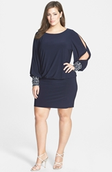 Xscape Evenings Matte Jersey Blouson Dress With Beaded Cuffs Plus Size Navy