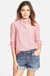 Ace Delivery Button Front Stripe Shirt Red