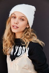 Urban Outfitters Slouchy Fuzz Ribbed Beanie Ivory