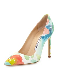 Manolo Blahnik Bb Floral Watercolor Pump Pink Multi