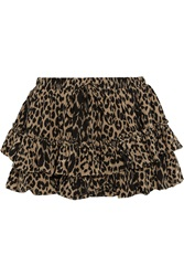 Elizabeth And James Wendy Leopard Print Silk Mini Skirt Animal Print