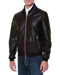 Stefano Ricci Leather Bomber Jacket With Tipped Trim Black Men's