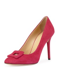 Charlotte Olympia Catherine Suede Square Buckle Pump Magenta