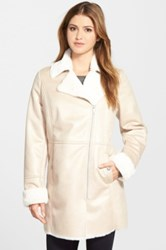 Kenneth Cole Asymmetrical Zip Faux Shearling Coat White