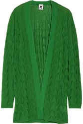 M Missoni Crochet Knit Wool Blend Cardigan Green