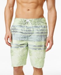 Speedo Men's Palm Striped E Board Swim Trunks Pop Green