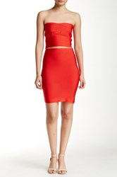 Wow Couture Solid Bodycon Skirt Red