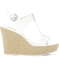 Dune Kelby Reptile Effect Leather Wedges White Reptile