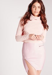 Missguided Petite Exclusive Faux Leather Biker Mini Skirt Baby Pink Pink