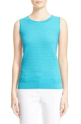 Women's St. John Collection Purl Stripe Knit Shell Aqua