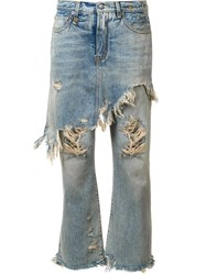 R 13 R13 Apron Overlay Distressed Jeans Blue