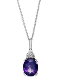 Macy's 14K White Gold Necklace Amethyst 4 1 2 Ct. T.W. And Diamond 1 5 Ct. T.W. Pendant