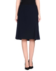 Thinple Knee Length Skirts Dark Blue