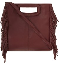 Maje The M Leather Cross Body Bag Bordeaux