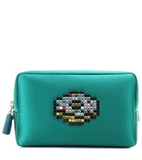 Anya Hindmarch Doughnut Crystal Embellished Satin Pouch Green