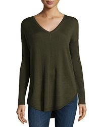 Neiman Marcus V Neck Shirttail Hem Dolman Sweater Hunter Leaf
