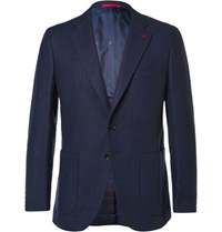 Isaia Blue Slim Fit Wool Blend Blazer Navy