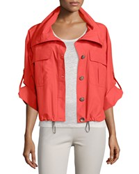 Peserico Button Front Cropped Rain Jacket Coral Women's
